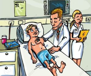 9290217-Cartoon-doctor-attending-a-young-patient-in-a-hospital-room-Stock-Vector