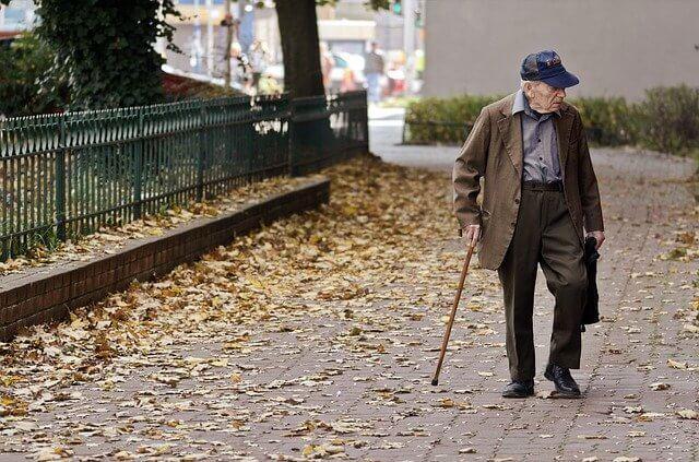 elderly in cane